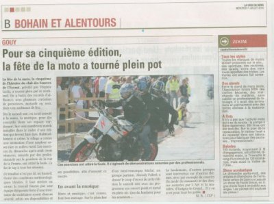 Article Fête de la moto à Gouy