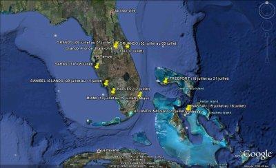 CARTE ITINERAIRES FLORIDE et BAHAMAS