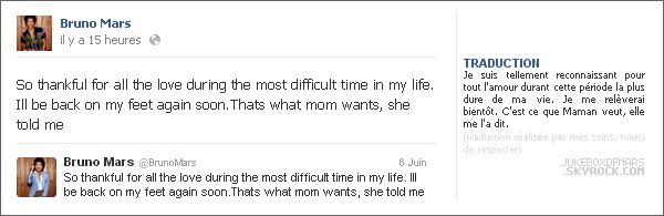 06/06/13 - Bruno Mars remercie ses fans et fait son retour