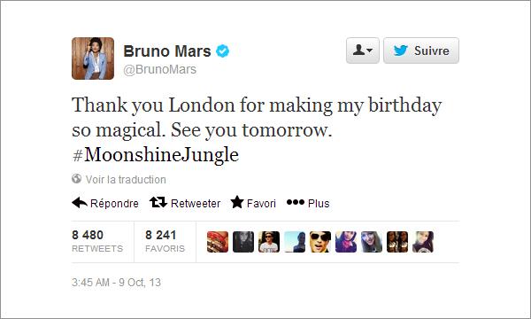 08/10/13 - Bruno Mars fête ses 28 ans ! + infos