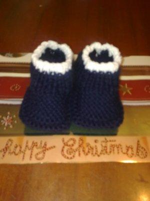 Petit chausson bleu et blanc