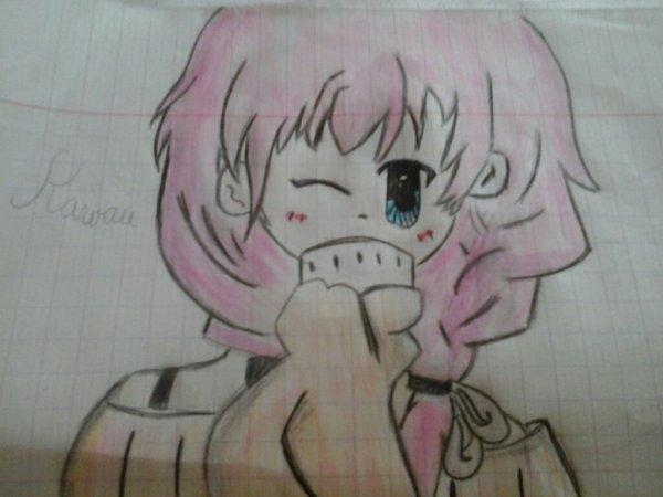 Fille manga avec les cheveux rose