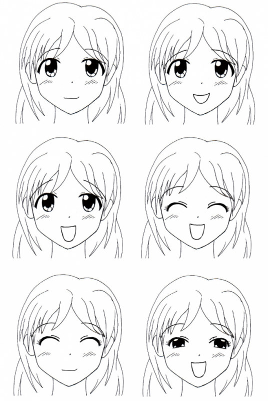 expression de joie pour visage manga