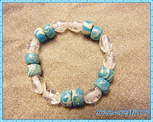 bracelet perles bleu pâte fimo