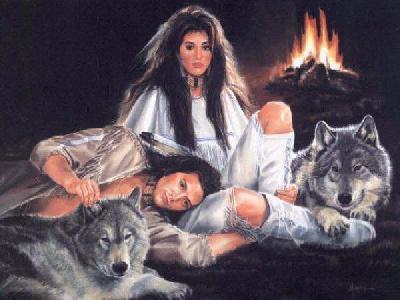 couple d'indien avec des loups
