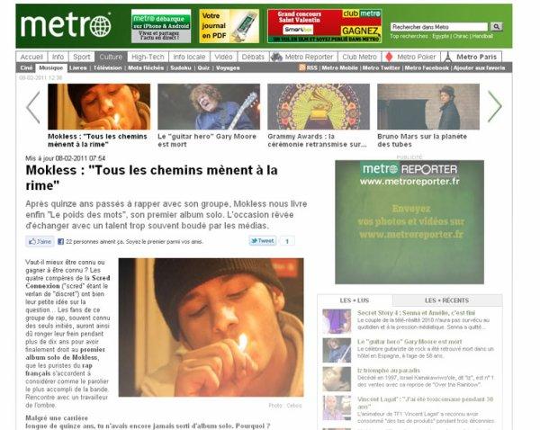 ARTICLE SUR MOKLESS DANS LE JOURNAL METRO!!