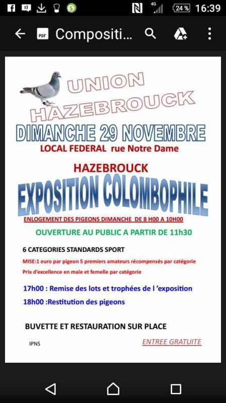 exposition de la société union le 29 novembre venez nombreux