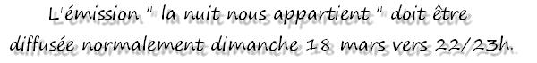 -  12 Mars : Marina DALMAS sera (normalement) sur nrj12 le 18 mars ..     -