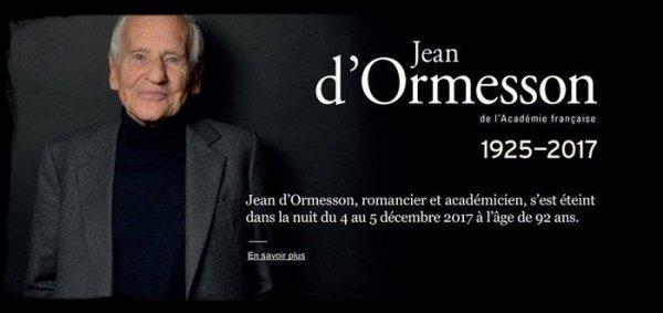 Hommage  a Monsieur  Jean d 'Ormesson