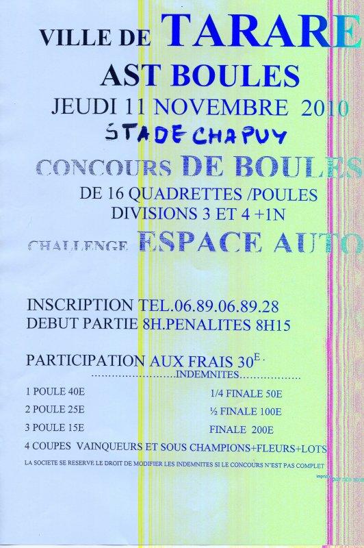 11 NOVEMBRE 2010 - TARARE - 16Q POULE