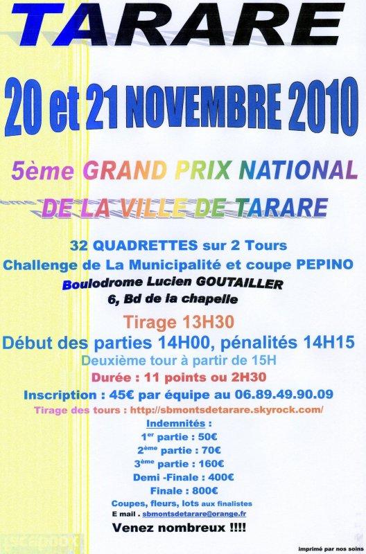 GRAND PRIX NATIONAL TARARE - 20 ET 21 NOVEMBRE 2010