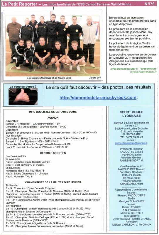 LE PETIT REPORTER N° 176 - JEUDI 25 NOVEMBRE 2010 - DE JACQUES BURNOD