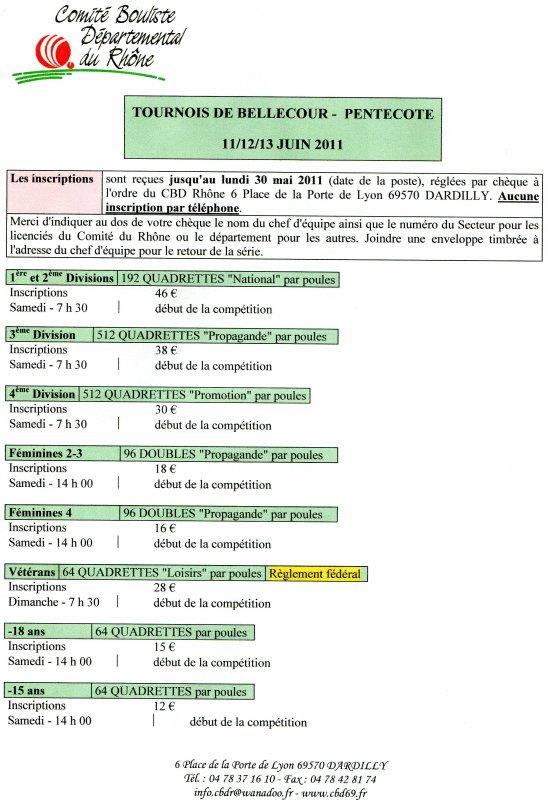 TOURNOIS DE BELLECOUR PENTECOTE 11/12/13 JUIN 2011 - LES  INSCRIPTIONS