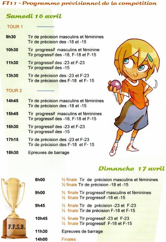 RESULTATS CONCOURS NATIONAUX - 9 ET 10 AVRIL 2011