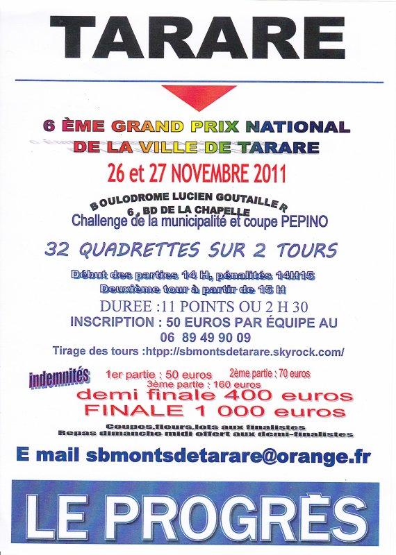 26 ET 27 NOVEMBRE 2011 - GP 1D/2D - TIRAGE DES TOURS-
