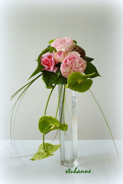 roses du jardin et anthuriums