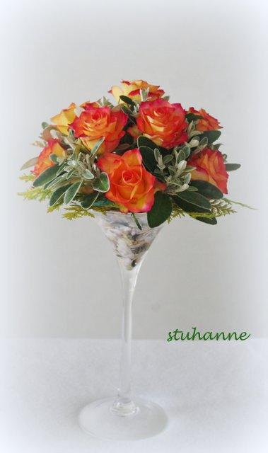 roses et sénécio