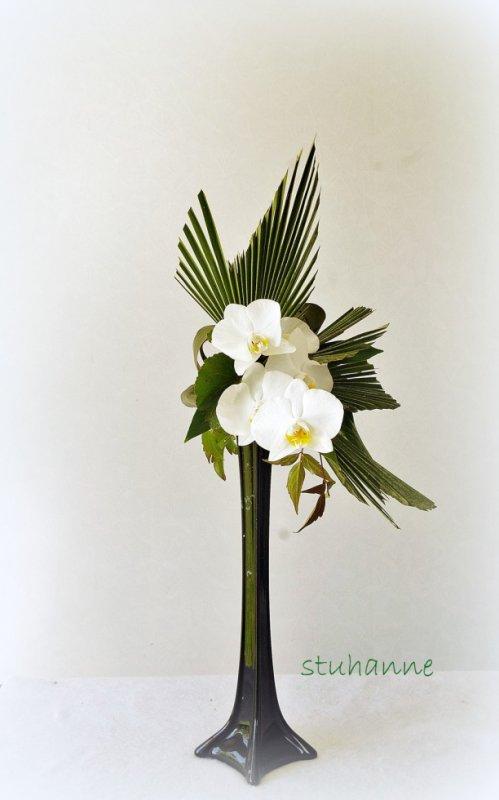 composition florale:EN VERT ET BLANC