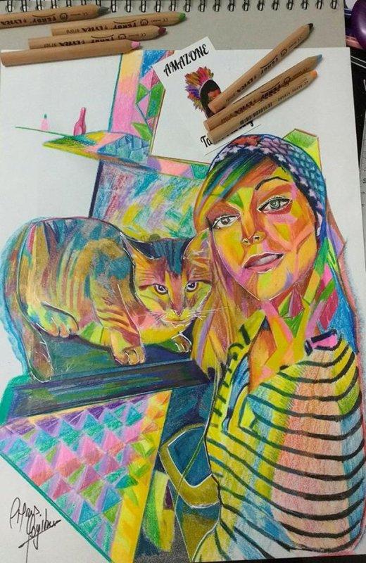 jeune femme  au chat