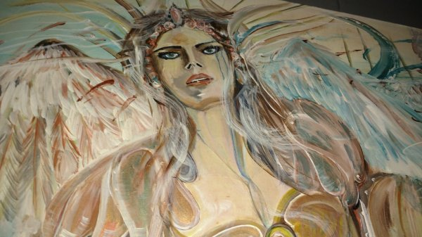 Archange peinture sur bois