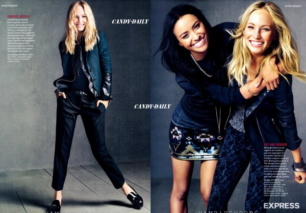 "Paul,kat & Candice pour""express collections fall/winter advertisements"" + photoshoot de tv guide"