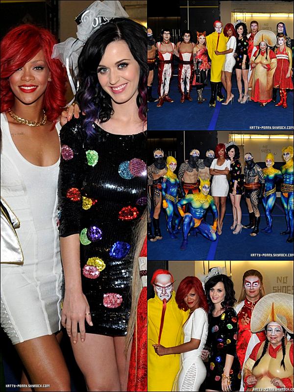 18 sept. 2010: Katy et Rihannaau Cirque du Soleil pour l'enterrement de vie de jeune fille de Katy!