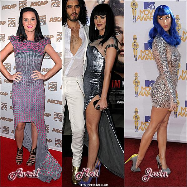 Nous approchons de l'année 2011, l'occasion donc de montrer l'évolution de notre petite Katy Perry!  Notons qu'elle à un petit penchant pour les robes qui nous montre ses jambes ainsi que des talons de grande taille!