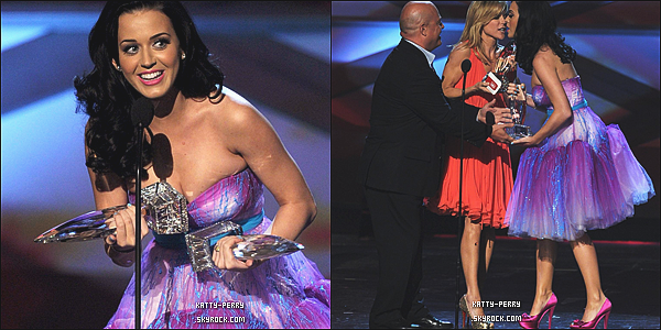 5 Janvier 2011: Katy était aux Peoples Choice Awards 2011, nominée dans 5 catégories, elle gagne 2 prix: Artiste féminine préférée et artiste pop préférée. Comment trouves-tu sa tenue?