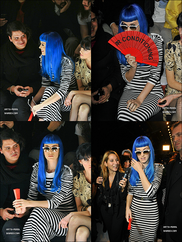 8 Mars 2011:  De sortie à Paris: au magasin Colette puis au show de Jean Charles de Castlebajac.● Katy fait un Flop avec sa perruque bleue et ses chaussures rouge. Point positif: les lunettes. Ton avis?