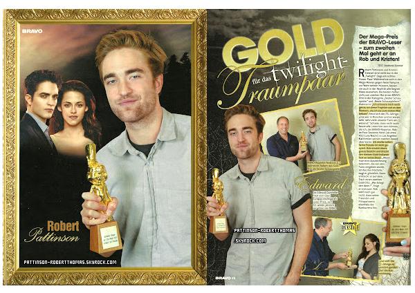 20 Juillet 2012 :Scan du magazine Bravo (Allemagne)    Dans lequel a montré de nouvelles images de Robert Pattinson et Kristen Stewart obtenir le prix pour BD Part 1, avec une interview exclusive !