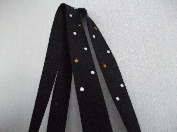 Sac en Jeans brodé, noir et blanc