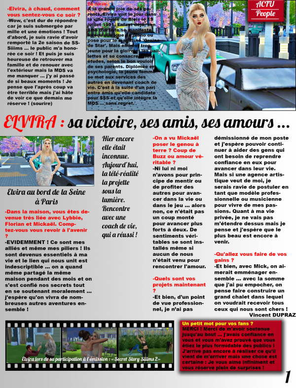 Interview d'Elvira dans un grand magazine !