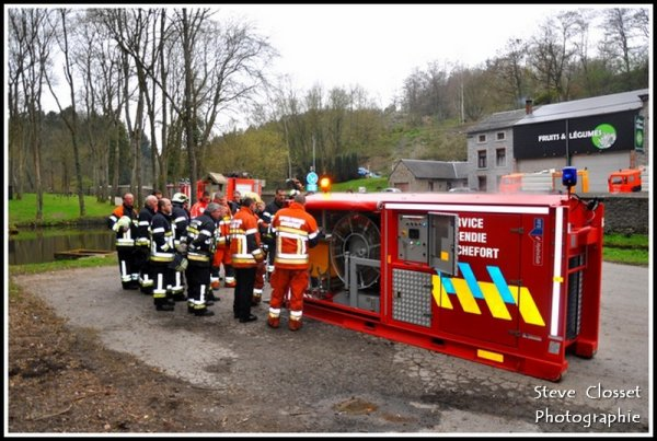 Exercice pompe HFS pompiers Beauraing et Rochefort 15 avril 2012
