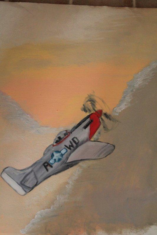Toile du P-51 mustang terminée ! Elle n'a plus qu'à sécher ! On a le temps avec de la peinture à l'huile *_* :