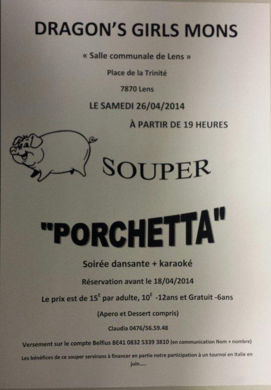 Souper Porchetta le 26/4 ..Soiree dansante et karaoke