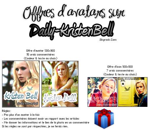 . Offres d'avatars sur Daily-KristenBell Profitez-en!   .