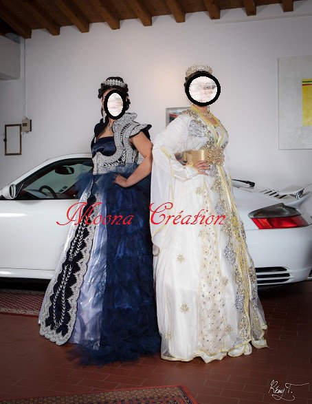 karakou bleu nuit et caftan mariée ivoire
