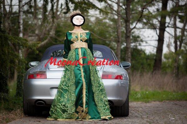 caftan vert henné mariée