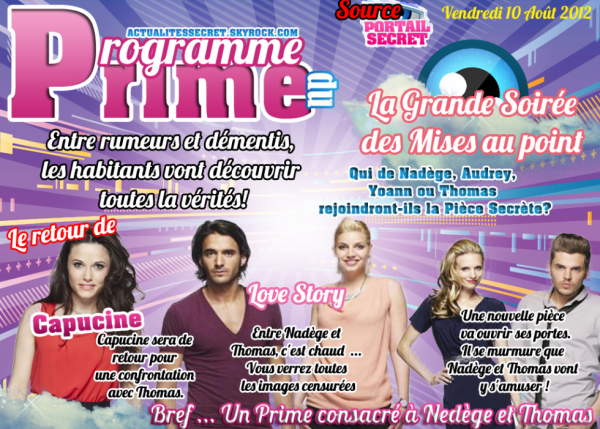 Le Programme du Prime du Vendredi 10 Août 2012