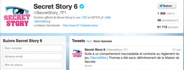 Thomas exclu du jeu Secret Story - TF1 Confirme