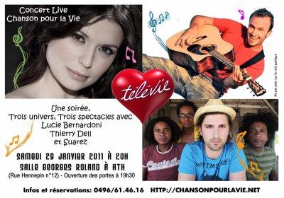 Concert Télévie avec Lucie Bernardoni, Thierry Dell, Suarez