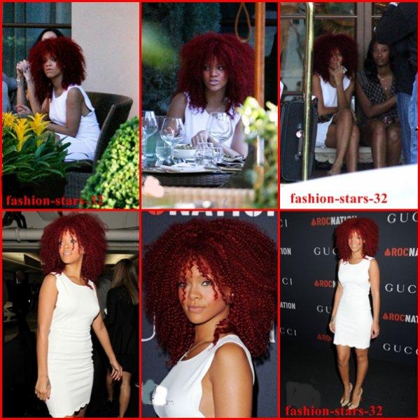 Rihanna au Restaurant à LA + à la Pré-soirée des Grammy Awards .     12 Février