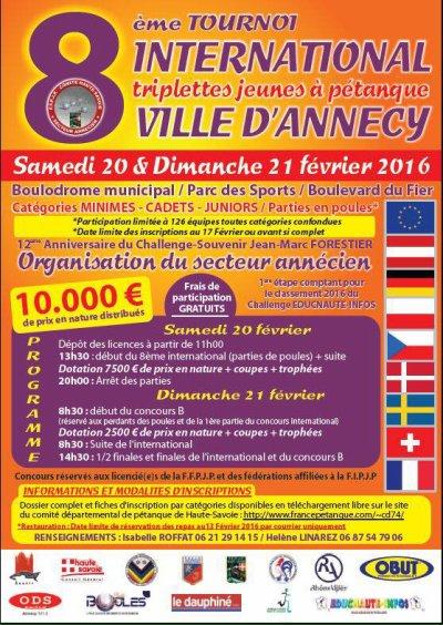 ANNECY (74) 20 & 21 février 2016 8ème International pétanque Jeunes