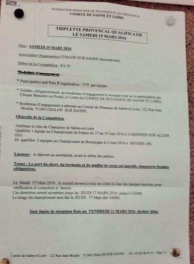 CHALON SUR SAONE: VAINQUEURS DU  CHAMPIONNAT TRIPLETTE PROVENCAL.