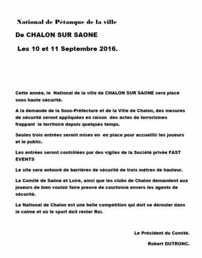 NATIONAL DE CHALON SUR SAONE.