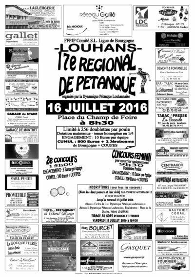 17 IEME REGIONAL DOUBLETTES DE LOUHANS 16 JUILLET.