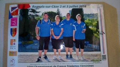 CHAMPIONNES DE FRANCE TRIPLETTES FEMININES.