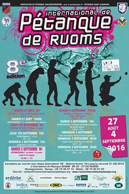 International de Pétanque de Ruoms - Du 27 août au 4 septembre 2016.