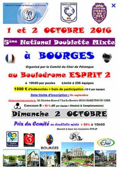 5ème National Doublette Mixte de Bourges, 1 et 2 octobre 2016.