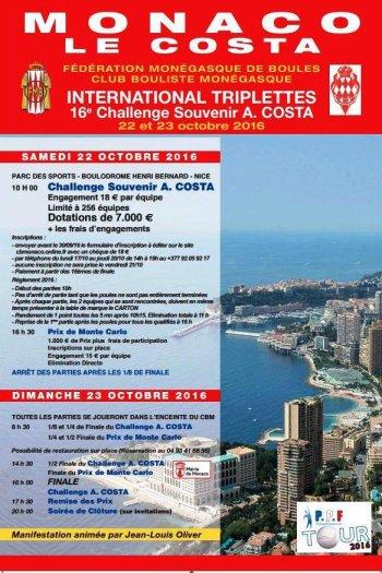 International pétanque de MONACO. Challenge Antoine COSTA 2016 du Samedi, 22 Octobre 2016 au Dimanche, 23 Octobre 2016